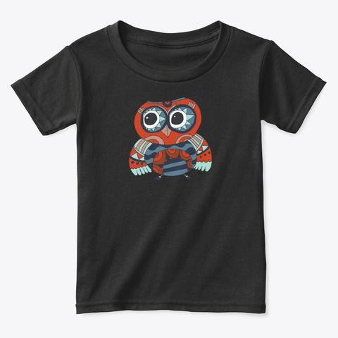 Mandala Owl Black T-Shirt Front