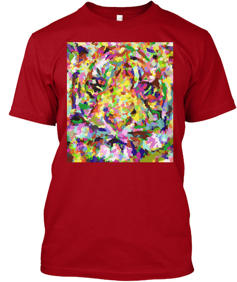 Abstract Tiger Deep Red T-Shirt Front