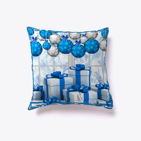 Frosty Christmas Morning   Throw Pillow Denim Blue T-Shirt Front
