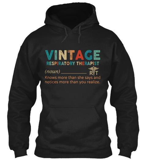 Vintage Respiratory Therapist Black T-Shirt Front