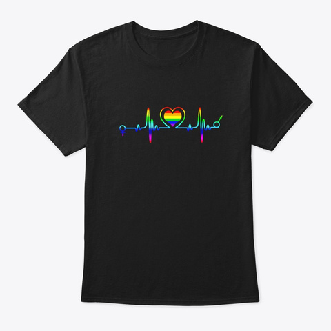 Lgbt Heartbeat T Shirt Gay And Lesbian Black T-Shirt Front