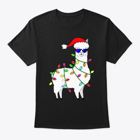 Santa Llama Funny Christmas Tree Lights Black T-Shirt Front