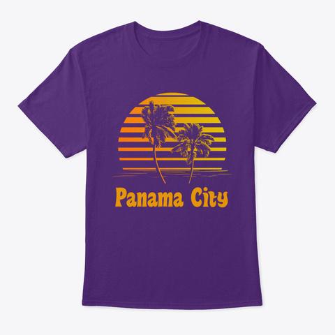 Panama City Florida Sunset Palm Trees Purple T-Shirt Front