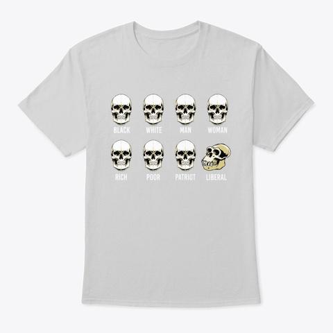 Skull Patriot Liberal Halloween Light Steel T-Shirt Front