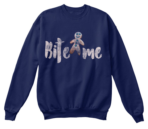 Bite Me Navy  T-Shirt Front