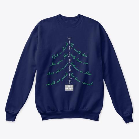 God Loved  Holiday Tree Life Navy  T-Shirt Front