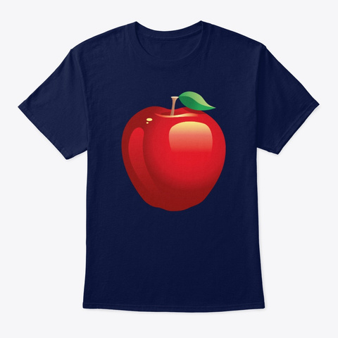 Large Painted Red Apple Navy T-Shirt Front