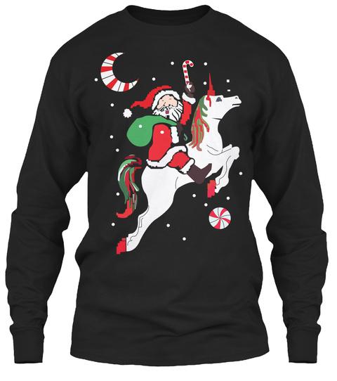 Santa Funny Christmas  Sweater Black T-Shirt Front