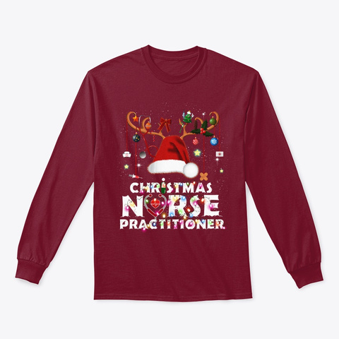 Christmas Nurse Practitioner Funny Cardinal Red T-Shirt Front