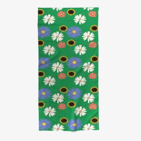 Floral Beach Towel Green T-Shirt Front