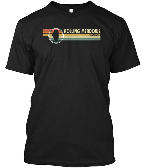 Illinois Vintage 1980 S Style Rolling Mea Black T-Shirt Front