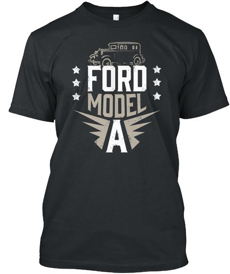 Model A 1929 Fordor Sedan Black T-Shirt Front
