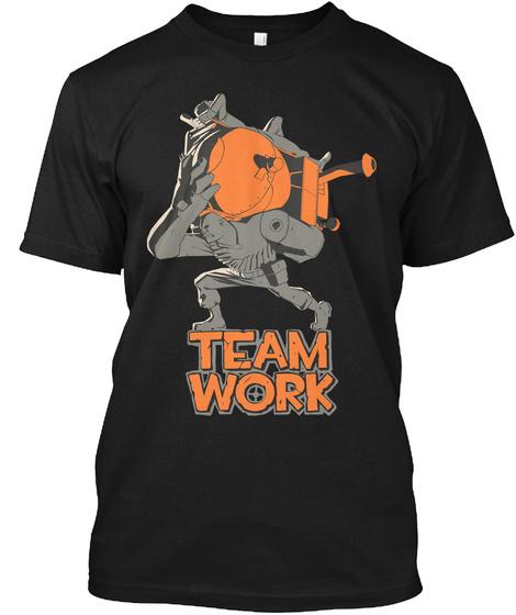 Team Work Black T-Shirt Front
