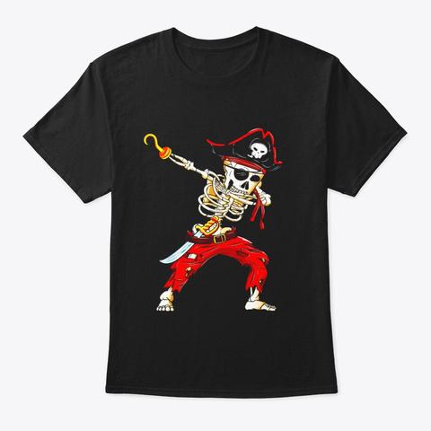Dabbing Skeleton Pirate T Shirt Black T-Shirt Front
