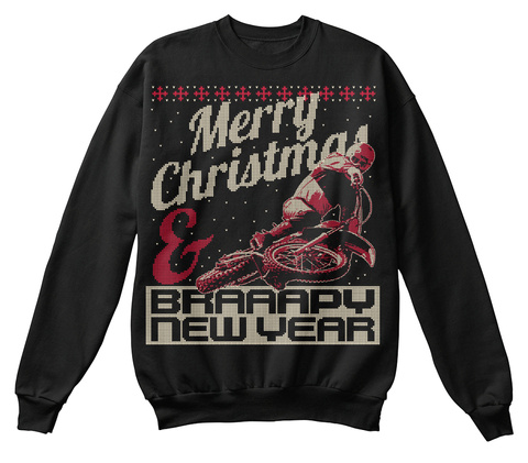 Merry Christmas & Braaapy New Year  Black T-Shirt Front