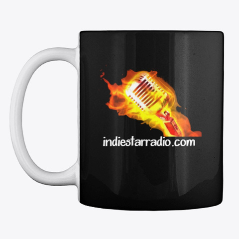 Official Indie Star Radio Mic Coffee Cup Black T-Shirt Front