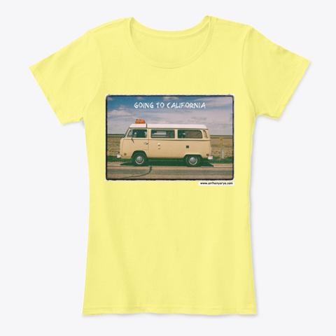 """Women's Tee: """"Going To California"""" Lemon Yellow T-Shirt Front"""