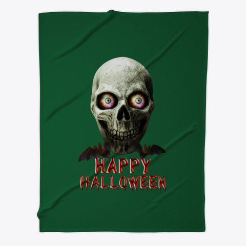 Happy Halloween Skull+Bats Dark Green T-Shirt Front