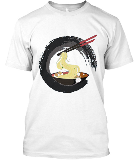 Japanese Ramen In Calligraphy Circle White T-Shirt Front