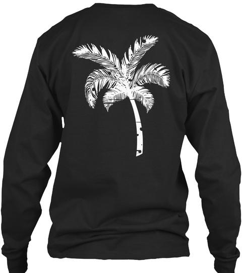 Palm Tree Long Sleeve Black T-Shirt Back