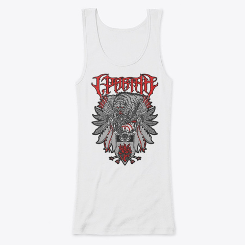 """Woman's """"Chief Of Death"""" Fitted Tank Top White T-Shirt Front"""