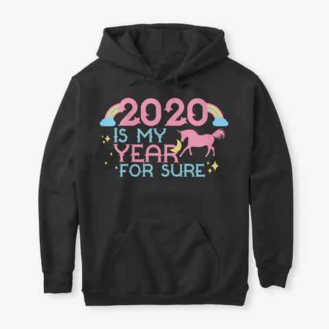2020 Is My Year Happy New Year Rainbow Black T-Shirt Front