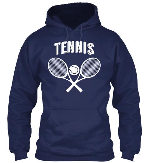 Hoodie Tennis Rackets Ball Navy T-Shirt Front