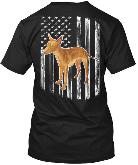 American Flag Cirneco Dell'etna 4th July Black T-Shirt Back