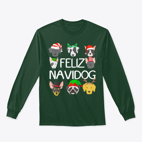 Christmas   Merry Dog Christmas T Shirt Forest Green T-Shirt Front