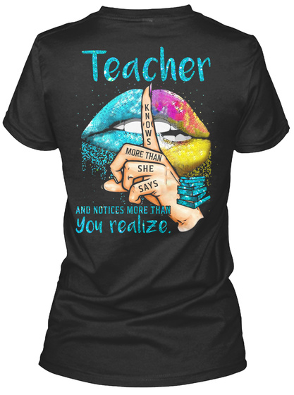 Awesome Teacher Black T-Shirt Back