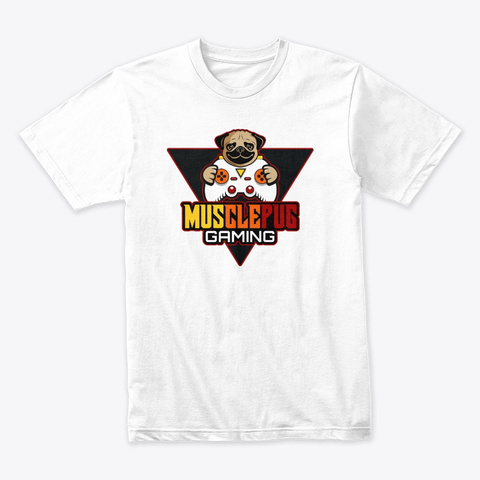 Muscle Pug Fire Logo White T-Shirt Front