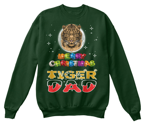 Tiger Dad Merry Christmas Deep Forest  T-Shirt Front