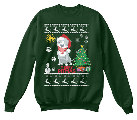 Christmas Sweater: Pitbull Dog Deep Forest  T-Shirt Front