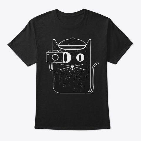 Cat And Camera Gift For Camera Lover Black T-Shirt Front