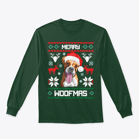 Boxer Dog Gift For Merry Xmas Woofmas Forest Green T-Shirt Front