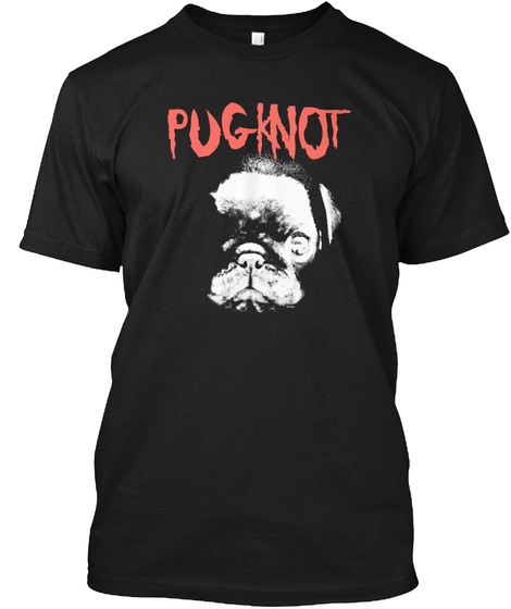 Pug Knot Black T-Shirt Front