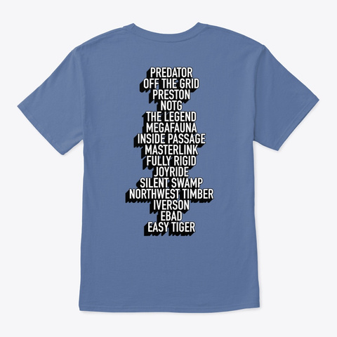 Tiger Mountain  White & Black Logo Denim Blue T-Shirt Back