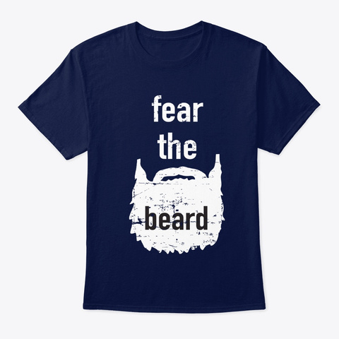 Beard T Shirts With Sayings For Men Navy T-Shirt Front