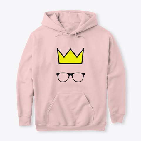 Crown And Glasses Hoodie Light Pink T-Shirt Front