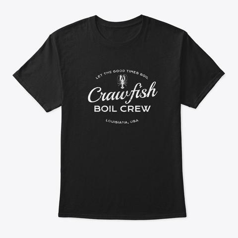 Crawfish Crew Retro Louisiana Cajun Seaf Black T-Shirt Front