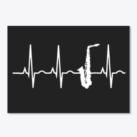 Saxophone Sticker Black T-Shirt Front