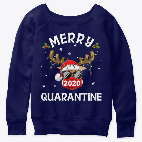 Family 2020 Quarantine Merry Christmas Navy  T-Shirt Front