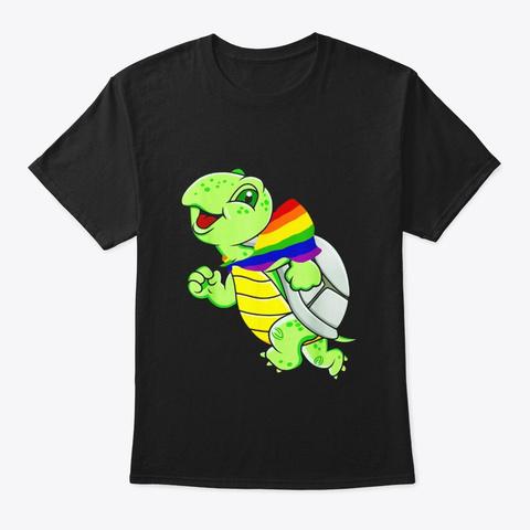 Gay Pride Flag Turtle Tshirt Lgbt Pride Black T-Shirt Front