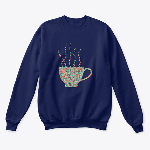 Peppermint Coffee Holiday Navy  T-Shirt Front