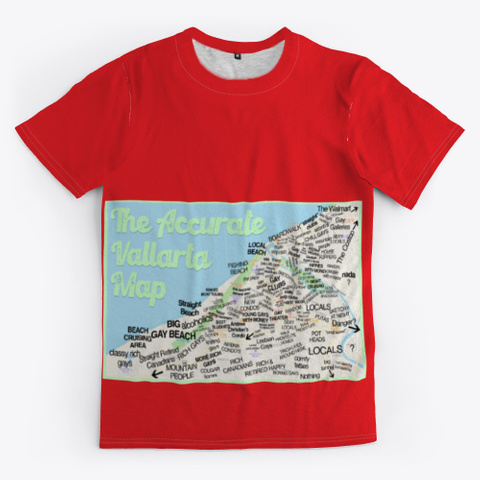 The Accurate Vallarta Map Red T-Shirt Front