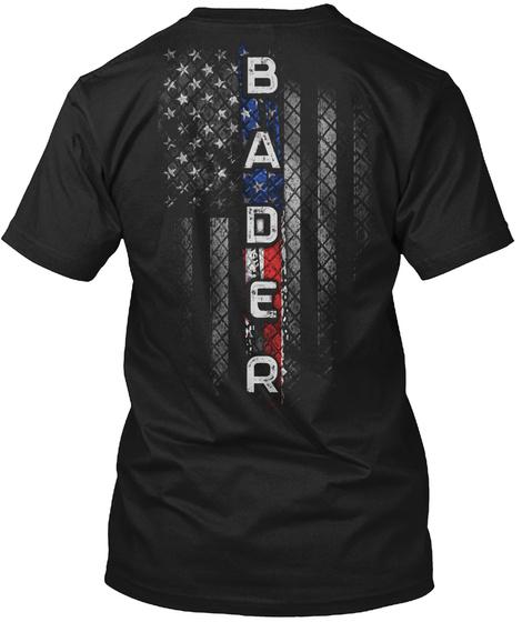 Bader Family American Flag Black T-Shirt Back