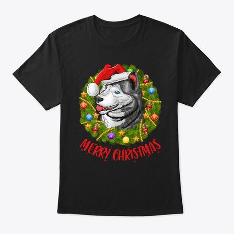 Husky In Christmas Wreath Tshirt Black T-Shirt Front