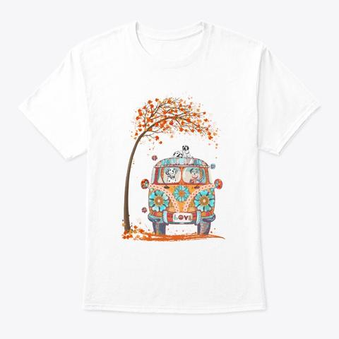 Maple Falling Autumn Dalmatian Tshirt  White T-Shirt Front