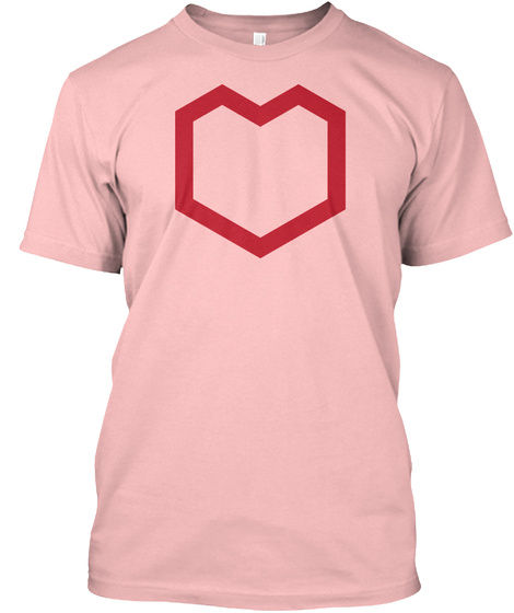 Hex Heart Pale Pink T-Shirt Front
