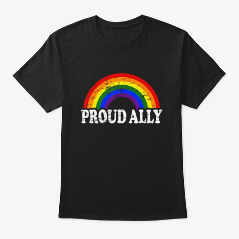 Funny Proud Ally Gay Flag Rainbow Lgbt Black T-Shirt Front